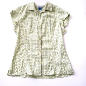 Columbia Short Sleeve Plaid Button Down Large